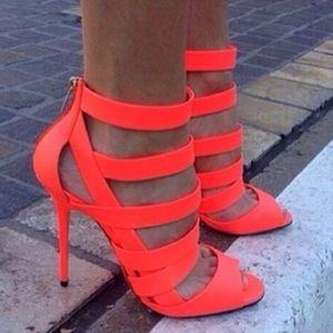 Jimmy Choo Dame Neon Orange Caged Heels